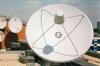 Communications satellite dishes