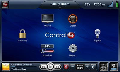 Control4 touchscreen navigation